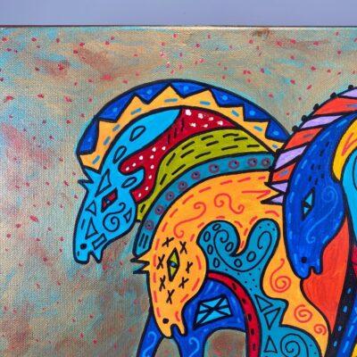 Abstract Horses, Kathleen Kills Thunder, Oil On Canvas