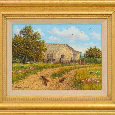 """Manuel Garza (b. 1940), """"Farm House Chickens"""""""