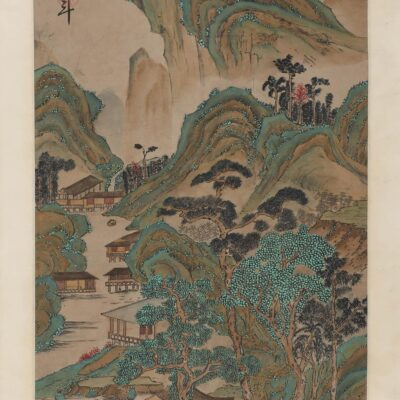 A Chinese Verdant Mountains Painting Paper Scroll, Qian