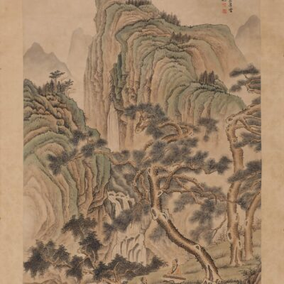 A Chinese Landscape Painting Paper Scroll, Feng Chaoran