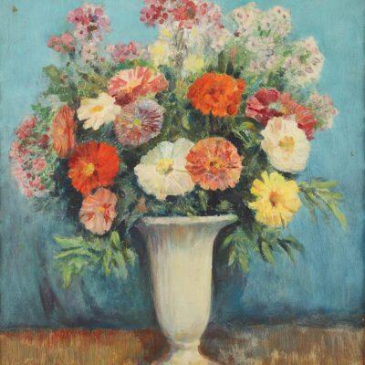 Arthur Ernst Becher, Still Life with Flowers, Oil on Board