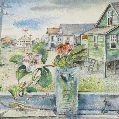 David Burliuk (Ukrainnian/Russian, 1882-1967), Beach House, Watercolor on Paper
