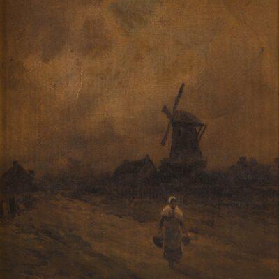 Dutch School, Woman Walking with Windmill Behind, Oil on Canvas