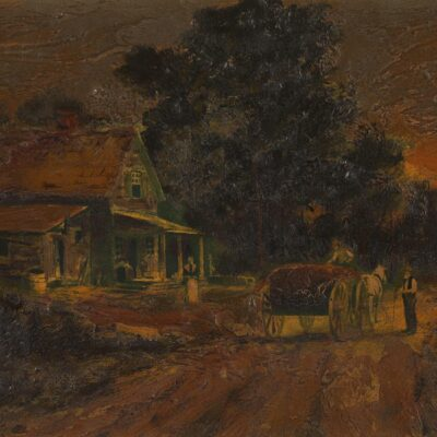 European School, Man and Horse in Front of a House, Oil on Panel