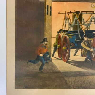 N. Currier, The Life of A Fireman, The Night Alarm, Hand-colored, Lithograph