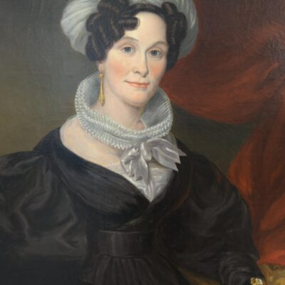 Portrait of a Woman with Feathered Hat, 19th Century, Oil on Canvas
