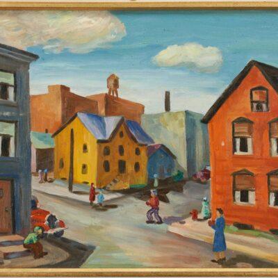 Midwestern School O/C Painting, City Scene