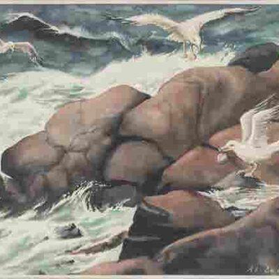 AL LE NORMAND, WATERCOLOR ON PAPER, C. 1960, H 17.25″,