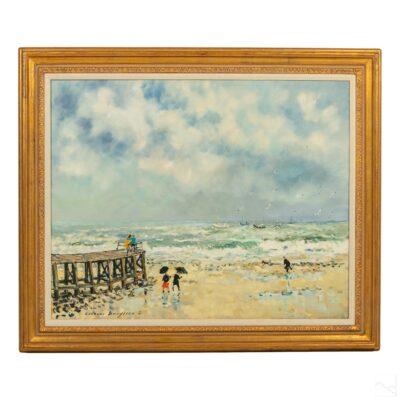 Jacques Bouyssou 1926-1997 Beach Seascape Painting